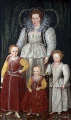 Portrait of a pregnant Anne, Lady Pope with her children from her first marriage. By Marcus Gheeraerts the Younger, (National Portriat Gallery - London UK) Historical Costume, Historical Clothing, Historical Dress, Isabel I, Elizabethan Era, Elizabethan Fashion, Renaissance Fashion, Tudor Era, Old Portraits