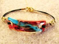 Bright Unique Fused Glass Flat Focal Bead Bracelet My Glass, Glass Art, Jewelry Art, Unique Jewelry, Jewelry Ideas, Kiln Formed Glass, Fused Glass Jewelry, Dichroic Glass, Mosaic Glass