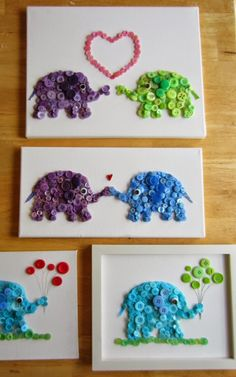 Cute DIY Craft Elephant Buttons Painting