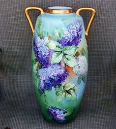 """Outstanding Limoges 1900's Hand Painted """"Lilacs"""" 15-1/2"""" Vase by Artist, """"G. Glewienks"""""""