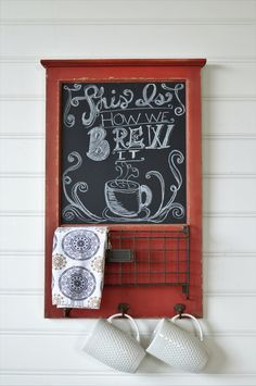 Add your favorite coffee quote, grocery list or inspirational saying to our chippy, red, chalkboard. This is ready to hang on your kitchen wall and is complete with a basket for important notes or tea towels and hooks to hang your best mugs or utensils.