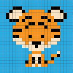 Cross Stitch Charts Zoodiacs tiger graph - Introducing my Zoodiacs, a collection of Chinese zodiac animals in a graph design, perfect for or graphghan crochet. First up is the Zoodiacs Tiger! Crochet Pixel, Crochet C2c, Tapestry Crochet, Crochet Chart, Baby Blanket Crochet, Crochet Baby, Knitting Charts, Baby Knitting, Start Knitting
