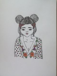 #drawing#girl#oriental#colours#black#fineliners#school#summer#flowers#details