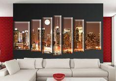 Tablou Manhattan 39999 Dimensiuni: 2x 40x70 - 2x 25x80 - 2x 25x90 - 1x 20x100 cm Total: 200x100 cm Modern, Trendy Tree