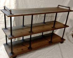 Industrial TV Stand Iron and Wood for 40 to 46 door RetroWorksStudio