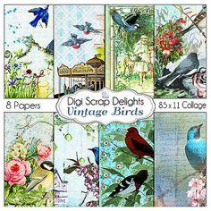 Vintage Digital Papers Victorian Vintage Bird by DigiScrapDelights