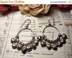 SPRING SALE 1980s Vintage Long Sterling Silver Puffed by Glamaroni
