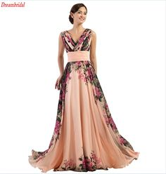 >> Click to Buy << Dreambridal Floral Print Graceful Chiffon Prom Dress for Women Color Evening Dress Prom Dress Bride Formal Party Homecoming  #Affiliate