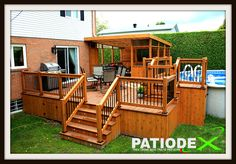 Patio Dining Pergola patio doors with sidelights. Wood Patio, Pergola Patio, Patio Dining, Gazebo, Pool Deck Plans, Patio Plans, Above Ground Pool Decks, In Ground Pools, Swimming Pool Designs