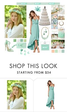 """""""Mint Wedding Day"""" by vualia ❤ liked on Polyvore featuring WithChic, Steve Madden, Pantone, mint, Mintwedding, mintcrown, mintflowercrown and mintheadpiece"""