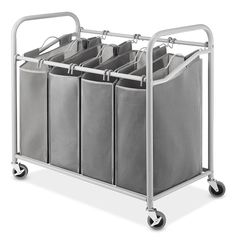"""Amazon.com: Whitmor 4-Section Laundry Sorter Cart-Heavy Duty, Durable Metal Frame & Handles – Large Hanging Bags with Plastic Grips, Laundry Room Hamper Organizer with Lockable Caster Wheels – 20 x36 x33"""": Home & Kitchen"""