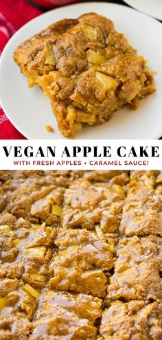 Easy, 1 bowl Vegan Apple Cake with optional caramel drizzle! Sure to become your favorite Fall dessert. #vegan #plantbased