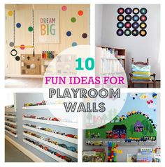 10 Fun Ideas For Playroom Walls. These ideas would also work for kids rooms. #playroom #kids #toddlers