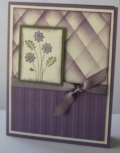 The folder is called Stripes, stamp set is Embellished Events (which has 6 stamps for all occasion and 5 phrases. Perfect Plum paper, ink, ribbon and Always Artichoke. All Stamping up.