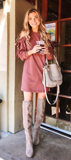 #fall #outfits women's brown cold-shoulder dress