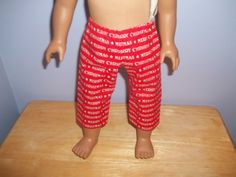 18 Inch Doll Clothes handmade Capris red with Merry Christmas on it by sue18inchdollclothes on Etsy