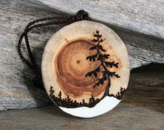 The Rising Sun - Handmade Driftwood Tree Ornament - Wood Burning