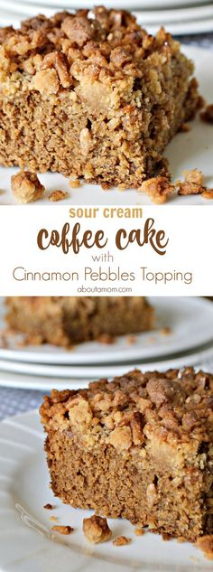 A sour cream coffee cake with an unexpected crunchy Cinnamon Pebbles crumb topping that everyone will enjoy.