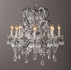 RH Baby & Child's Manor Court Crystal 8-Arm Chandelier - Aged Pewter:Inspired by an antique find, our regal chandelier's scrolling arms are draped with strands of glass beads and faceted crystals in a mix of shapes and sizes.