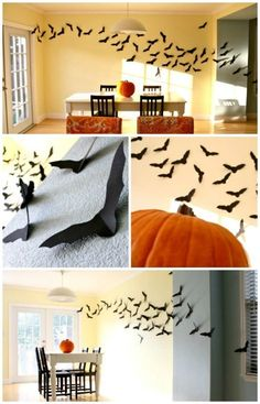 Add flying bats to your wall for a really spooky Halloween look. You just have to cut bats in all different sizes out of black cardstock and then just add them to the wall with tape. - 40 Easy to Make DIY Halloween Decor Ideas by Sofia Jimenez Spooky Halloween, Halloween 2014, Halloween Looks, Halloween Birthday, Halloween Party Decor, Holidays Halloween, Halloween Treats, Happy Halloween, Halloween Clothes