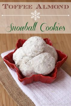 "Toffee Almond Snowball Cookies ""Buttery, Nutty, Crumbly Cookies with Bits of Toffee, Double-Rolled in Powdered Sugar. Get Your Coffee Cup Ready!"""