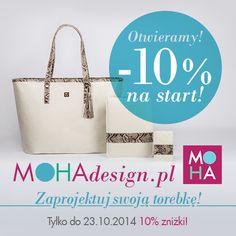 Przekonaj się jak przyjemne jest projektowanie! Czekamy na Twoje propozycje wymarzonej torebki! www.mohadesign.pl