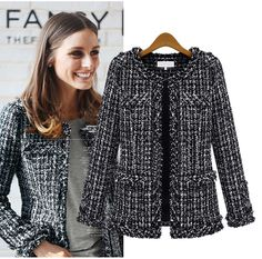 Black Tweed Structured Coco Jacket  as seen on Olivia Palermo
