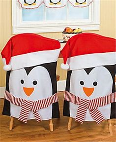2013 Christmas chair cover set, Christmas penguin with hat&scarf chair cover, Christmas home decor: Christmas Kitchen, Christmas Crafts, Xmas, Christmas Fabric, Christmas Themes, Christmas Decorations, Christmas Chair Covers, Penguin Party, Dining Chair Slipcovers