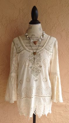 Vintage Crochet and Lace tunic with bead detail