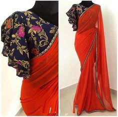 Stunning red color designer saree with designer blous… Diwali capsule collection. Stunning red color designer saree with designer blouse. Blouse with bell… Modern Blouse Designs, Stylish Blouse Design, Sari Bluse, Saree Blouse Neck Designs, Saree Jacket Designs Latest, Saree Blouse Models, New Saree Designs, Sleeves Designs For Dresses, Sleeve Designs