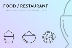 Pack of 12 Free Food Restaurant Icons for food-related websites or projects.