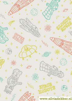 """Atomic Bots"" fabrics by Silvia Dekker."