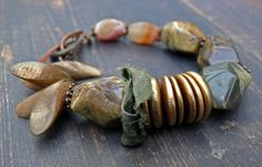 Finger on the Pulse - OOAK artisan chunky picture jasper, wood, sari silk, sandstone and oxidised copper bracelet. by PreciousViolet on Etsy