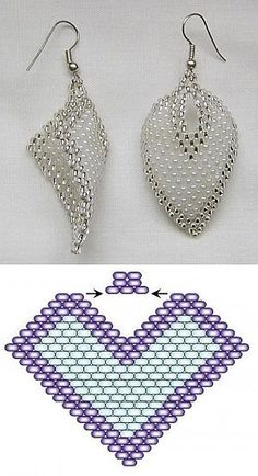 Beaded Earrings Patterns, Beading Patterns Free, Seed Bead Patterns, Bead Earrings, Seed Bead Jewelry, Bead Jewellery, Wire Jewelry, Handmade Jewelry, Loom Band Patterns
