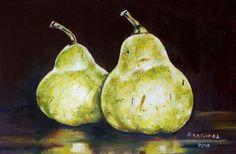 "Buy ""A Pair of Pears IV"", Oil painting by Hanna Kaciniel on Artfinder. Pears, Oil Painting On Canvas, Still Life, Artworks, Original Art, Artisan, Illustration, Stuff To Buy, Image"