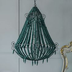 Turquoise Beaded Chandelier - Large