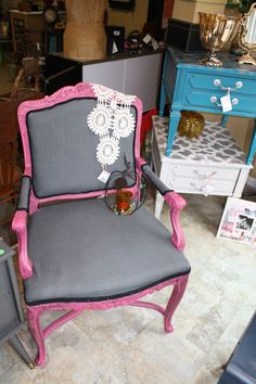 Hot pink and gray armchair by Redeemed Furnishings  http://www.facebook.com/uniquelyredeemed  Tags: Upholstery, shabby chic, dresser, vintage, Benjamin Moore Razzle Dazzle, French, DIY