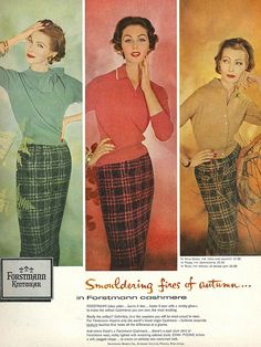 September Vogue 1957 Plaid skirts with tight sweaters Plaid Fashion, 50 Fashion, Fashion Models, Vogue Fashion, Mode Vintage, Vintage Vogue, 50s Vintage, Vintage Style, Vintage Dresses