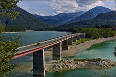 Niedrigwasser im Sylvensteinsee
