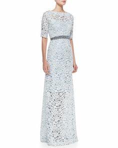 Teri Jon - Half-Sleeve Lace Overlay Gown