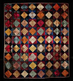 Silk Courthouse Steps by Unknown Quiltmaker. Looks like plaid Log Cabin Patchwork, Log Cabin Quilts, House Quilts, Log Cabins, Old Quilts, Antique Quilts, Vintage Quilts, Necktie Quilt, Pineapple Quilt