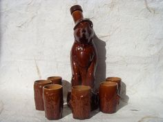 Rare Vintage Soviet Faience Bear Carafe With 6 Shot by Astra9