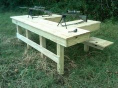 Shooters Bench Plans - Is vital when having friends over for a cook out, having some extra seating space.These bench sea Shooting House, Shooting Table, Shooting Targets, Shooting Guns, Shooting Sports, Outdoor Shooting Range, Outdoor Range, Shooting Bench Plans, Reloading Room