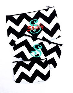 monogrammed cosmetic bag 3 in 1 nesting bagschevron by Baileywicks, $11.50