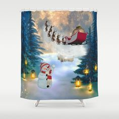 Christmas, cute snowman with Santa Claus and reindeer - Single Toggle Switch Cute Snowman, Christmas Snowman, Light Switch Covers, Buttonholes, Snow Globes, Home Improvement, Santa, Shower Curtains