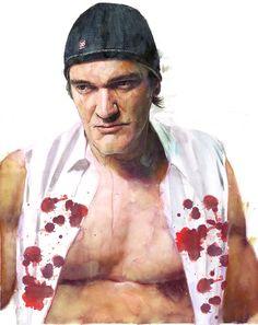 Quintin Tarantino, Watercolor //  by Berto Martinez, via Behance