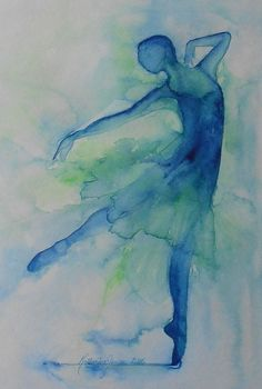 Blue Dancer 1 original watercolor painting by Katherine Jansen