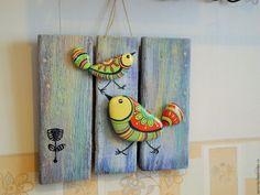 Купить Панно с птичками на деревяшке - комбинированный, разноцветный, дудлинг, панно, птички, птицы, подарок