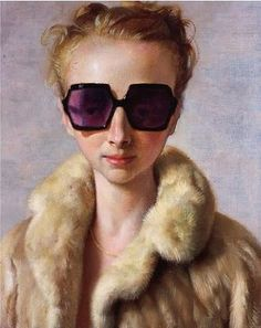 Rachel in Fur by John Currin (2002). Charles Anastase Linda Farrow octagonal glasses (and beautifully rendered fur). John Currin is a right perve though, check out his other work. Mind, he can paint like a motherbitch. Which he probably what he said in his interview to get into Yale art school.