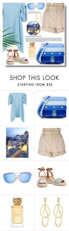 """Santorini Greece"" by ucetmal-1 ❤ liked on Polyvore featuring Boohoo, Kenzo, Moschino, Soludos, Tory Burch, Laundry by Shelli Segal, Greece, Santorini and outfitsfortravel"